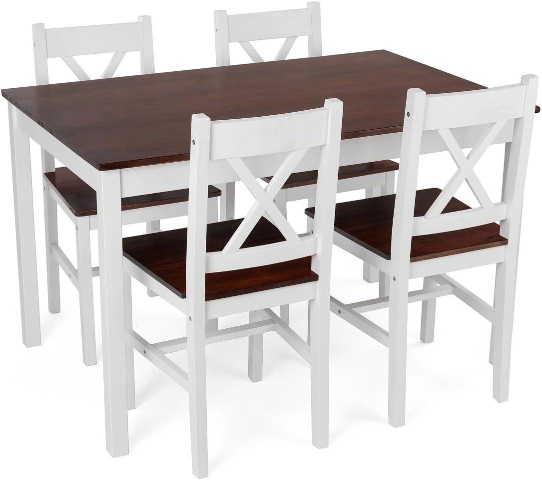 Christow Juego de mesa de comedor de madera color blanco con 4 sillas, asientos y parte superior de la mesa de madera de pino con barniz oscuro: Amazon.es: Hogar