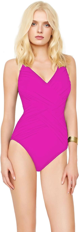 Gottex Womens Draped Panel Surplice V-Neck One Piece Swimsuit