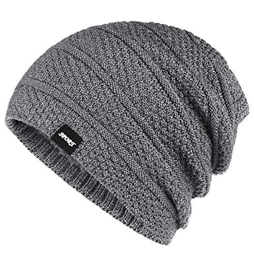 (Bodvera Winter Knit Warm Hat Thick Soft Stretch Slouchy Beanie Oversized Chunky Ski Skull Cap Grey)