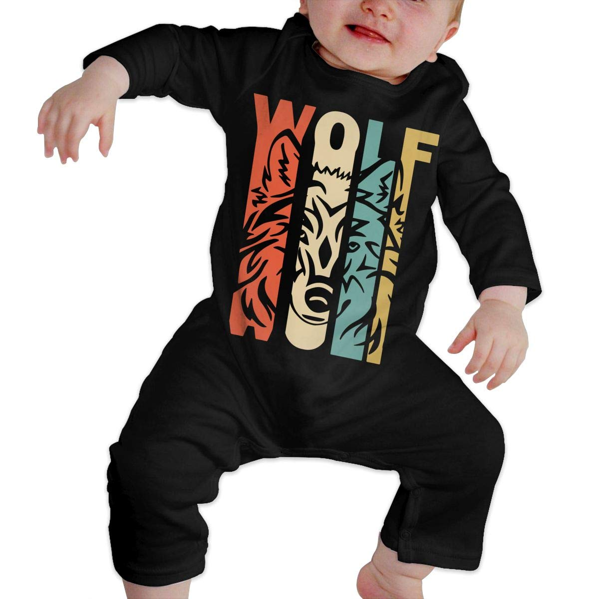 Soft Retro Style Wolf Silhouette Crawler Black Long Sleeve Cotton Rompers for Unisex Baby