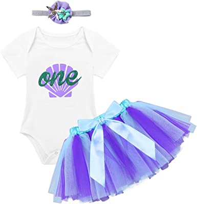 Baby Girl First 1st Birthday Party Tutu dress set Romper Headband Mermaid Outfit