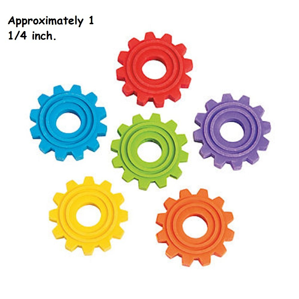 FX//OT 24 ~ Gear Shaped Erasers ~ 1 1//4 ~ Assorted Colors ~ New