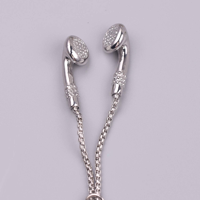 Fashion Necklace Hip Hop Music Headphone Pendant Necklaces Mens Long Chain Gold Silver Color Microphone 2 70cm Jewelry Necklaces