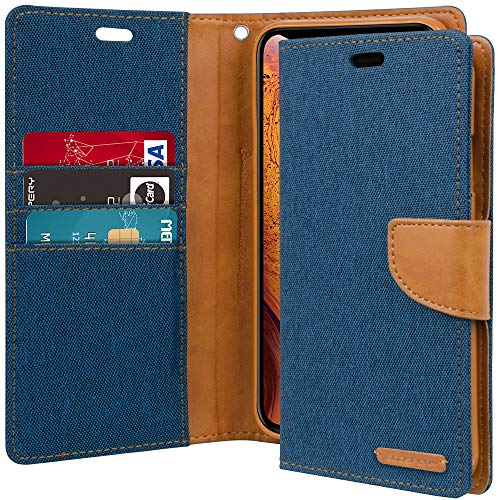 iPhone Xs Case, iPhone X Case [Drop Protection] Goospery Canvas Diary [Denim Material] Wallet Case [Card Slots] Stand Flip Cover [Magnetic Closure] for Apple iPhone Xs/X (Blue) IPX-CAN-BLU