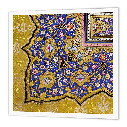 3dRose ht_162530_1 Purple and Matte Gold Arabian Floral Pattern Persian Style Flowers Iron on Heat Transfer for White Material, 8 by 8-Inch ()