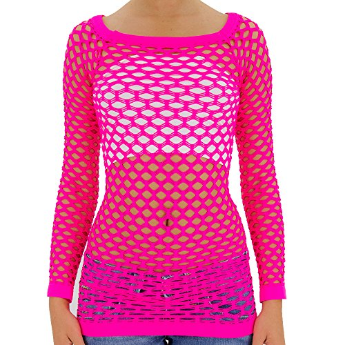 TD Collections Women's Elastic Nylon-Spandex Long Sleeve Fishnet Layer Blouse Top (One Size (S.M. L), Neon Pink) ()
