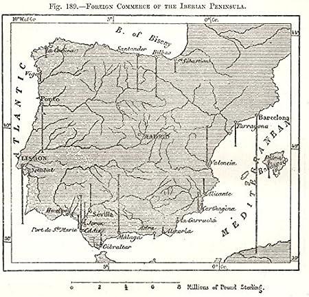 Comercio Exterior de la Península Ibérica. España Portugal Mapa de Bosquejo 1885 - Mapa Antiguo Vintage - Mapas Impresos de España: Amazon.es: Hogar