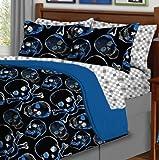 5pc Boy Blue Black Skull Gothic Twin Comforter