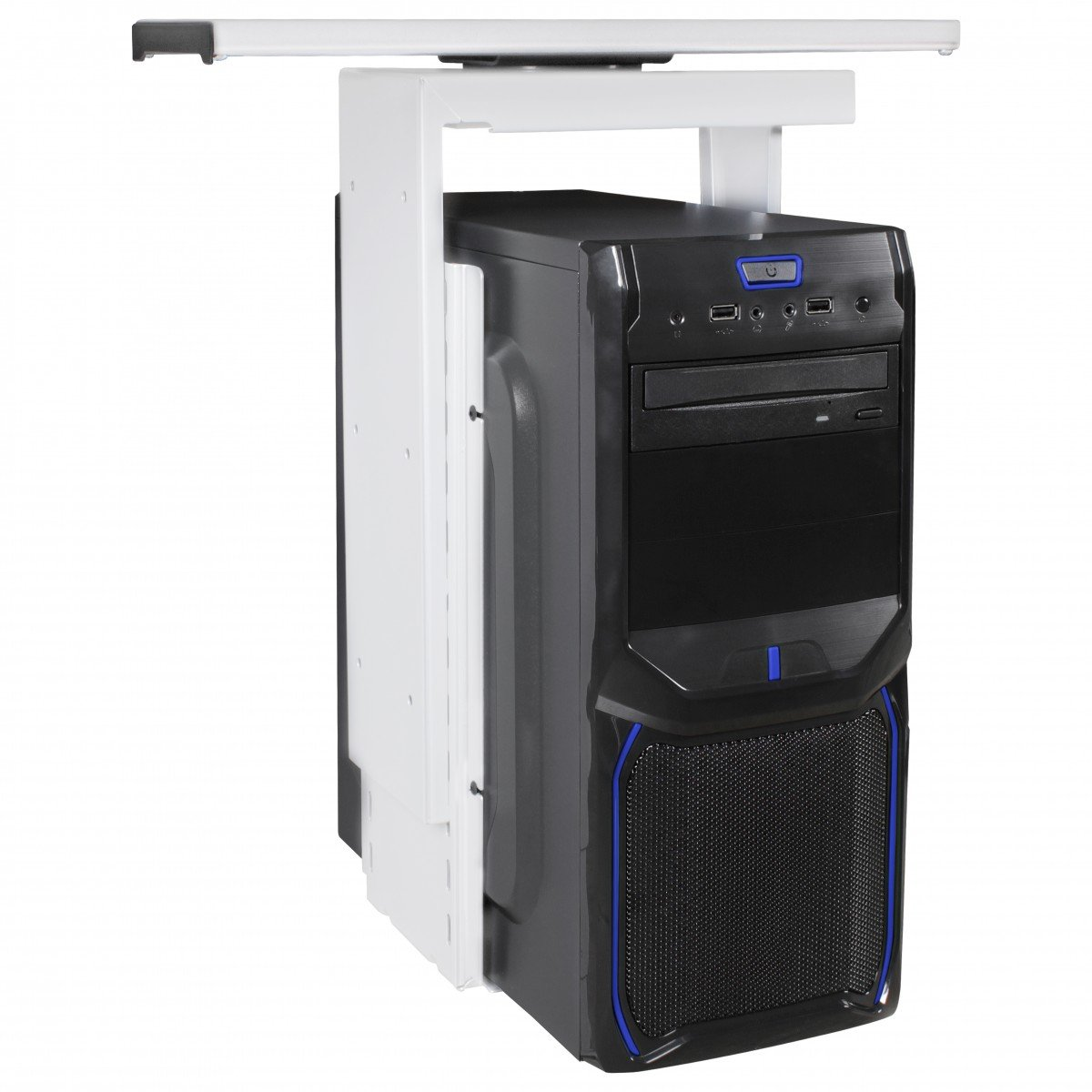 FineBuy PC-Halter 360° drehbar Universal Computerhalterung aus Metall 46-68 cm   Tischhalterung mit Auszugsystem   Untertisch Befestigung höhenverstellbar