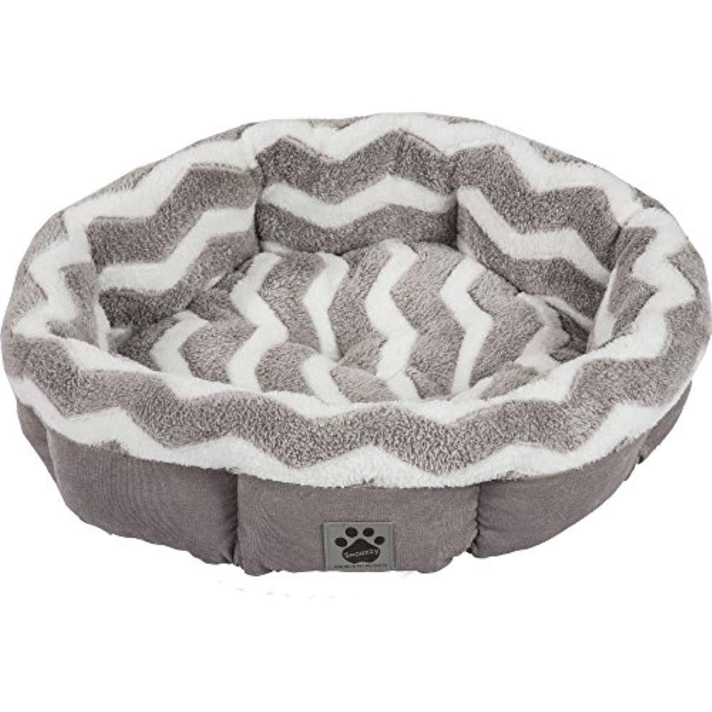 Petmate Precision Pet SnooZZy Zig Zag Shearling Round Pet Bed for Comfort and Support