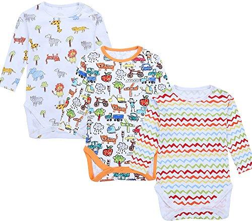Jingle Bongala Baby Bodysuit Long Sleeve Cotton Onesies 3 Pack-6M