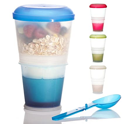 Müsli-To-Go cereal travel mug with insulated milk cooler, with 2-go spoon  for on the go blue