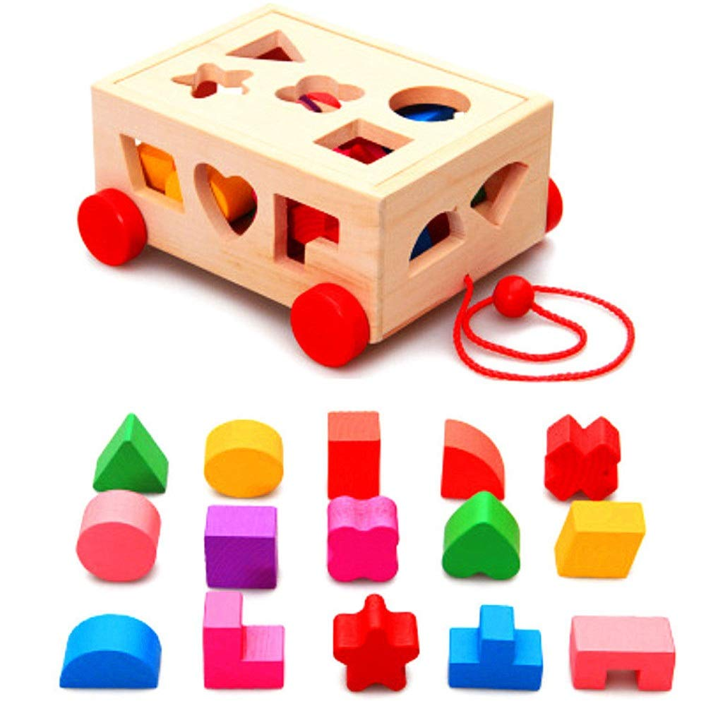 ZnMig Children 3-12 Years Old Multi-Purpose Building Blocks Dragging Car Intelligence Box Puzzle Building Blocks Children's Toys Early Education Puzzle Building Blocks Toys