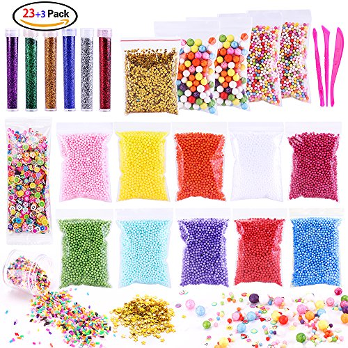POLMMYS Slime Making Kit, Slime Beads Including Foam Beads, Sprinkled Candy Pieces, Fruit Slices, Glitter shaker Jars and Sequin Stars for Crunchy Slime, Fluffy slime and DIY Craft - Cute Bead
