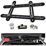 Universal Template Tool Ruler, Full Metal bolts & knobs, Easy Multi Angle Measuring Tools, Ultimate For DIY & Tile, Original Measurement Set (Black)