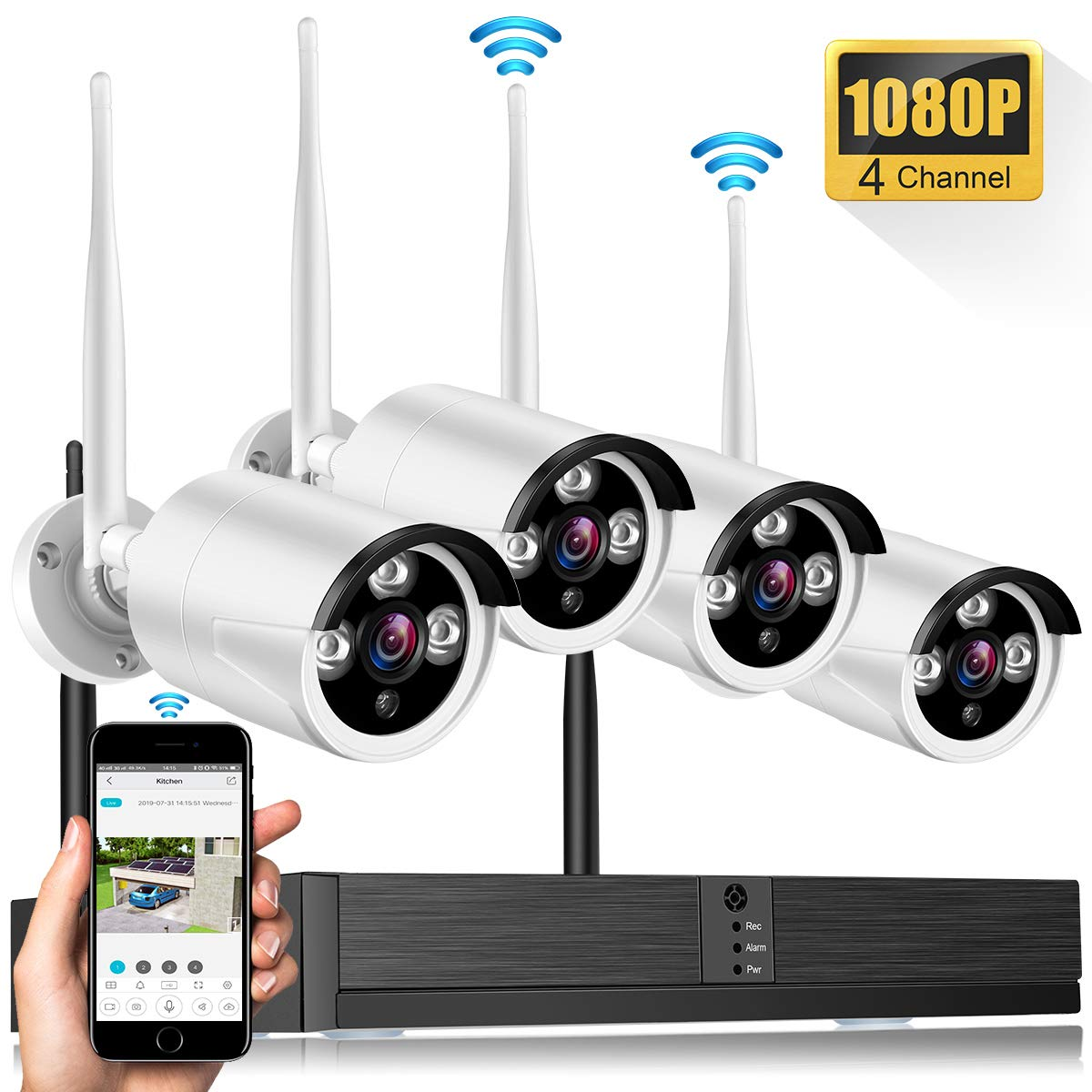 Wireless Security Camera System, Network Video Recorder Camera Working Range of 500 FT,4CH 1080P NVR 4Pcs H.265 2MP Indoor Outdoor WiFi Surveillance Cameras, Night Vision, Easy Remote View, No HDD