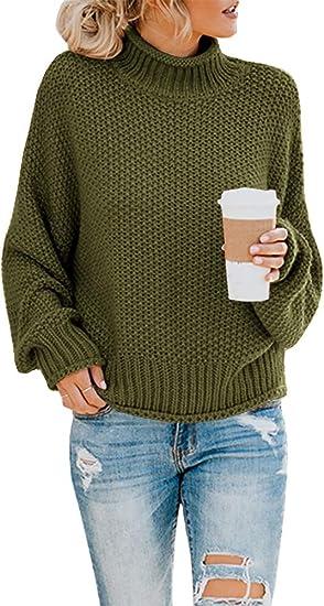 really cheap best selling innovative design Saodimallsu Womens Turtleneck Oversized Sweaters Batwing Long ...