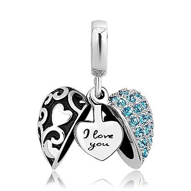 Sug Jasmin Open Heart I Love You Charm Beads For European Snake Bracelets GXfXA