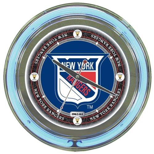 - NHL New York Rangers Chrome Double Ring Neon Clock, 14