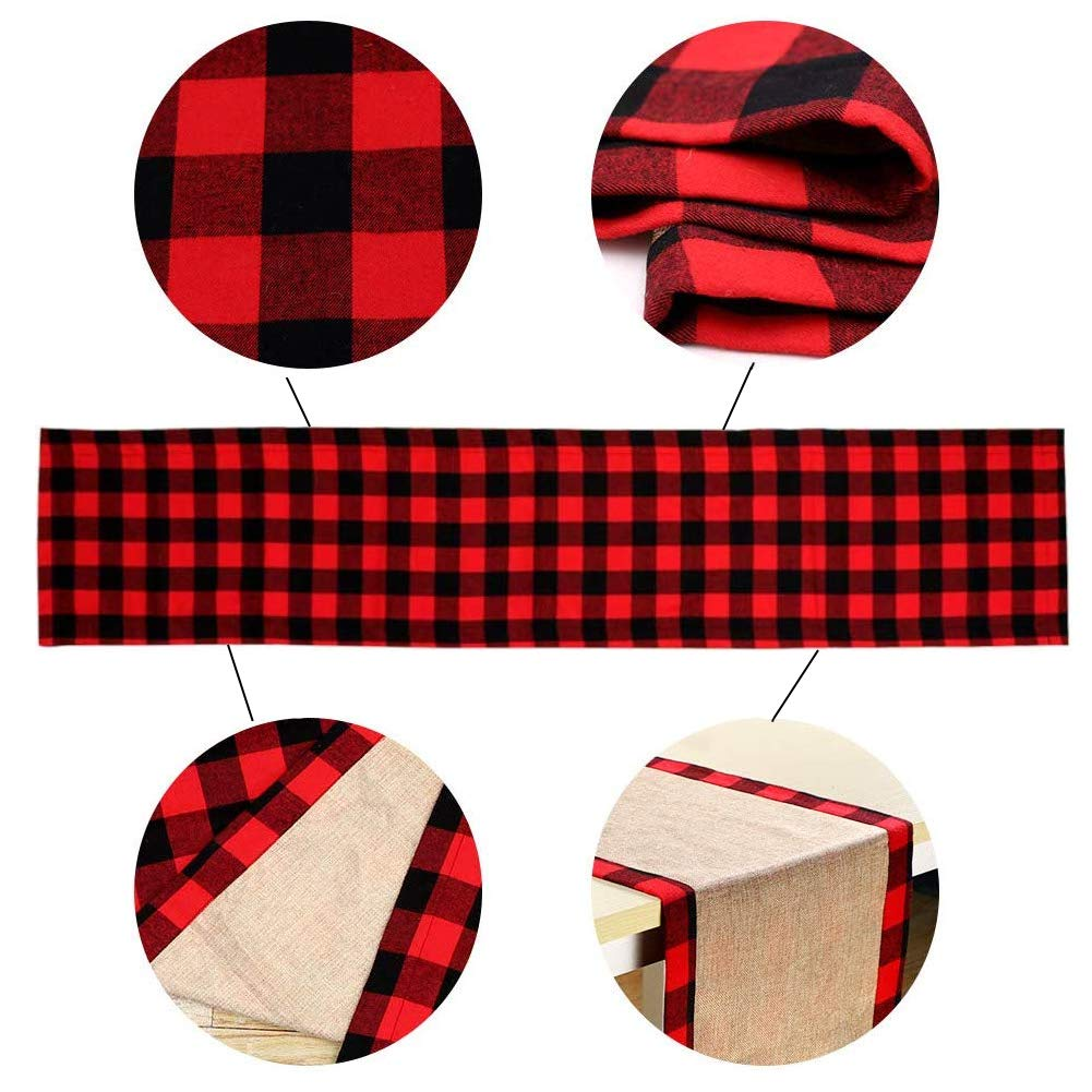 HAKACC Black and Red Buffalo Plaid Table Runner Cotton Burlap Table Runner for Christmas Holiday Birthday Party Table Home Decoration