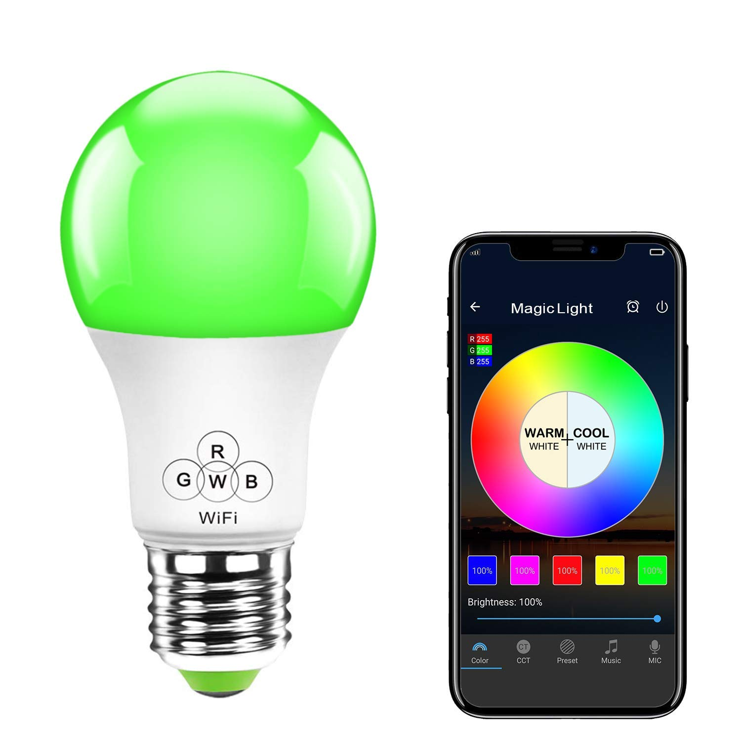 MagicLight WiFi Smart Light Bulb, 2nd Generation Dimmable Multicolor A19 E26 Household LED Bulb, No Hub Required, Compatible with Alexa, Google Home, IFTTT and Siri Shortcut