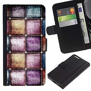 Billetera de Cuero Caso del tirón Titular de la tarjeta Carcasa Funda del zurriago para Apple Iphone 6 PLUS 5.5 / Business Style Watercolors Pastel Tones