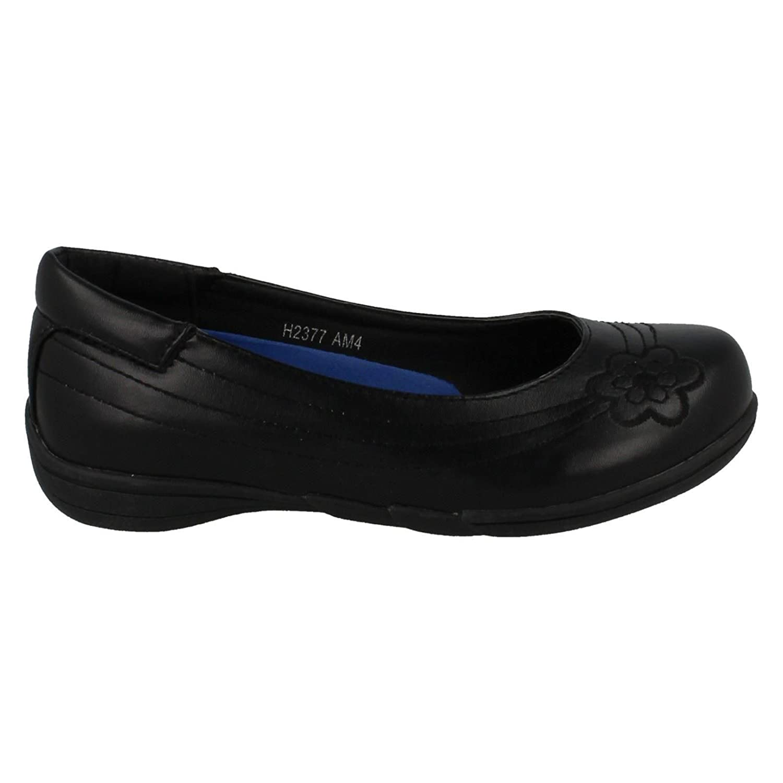 *SALE* Spot On H2377 Girls Black Synthetic Slip On School Shoes