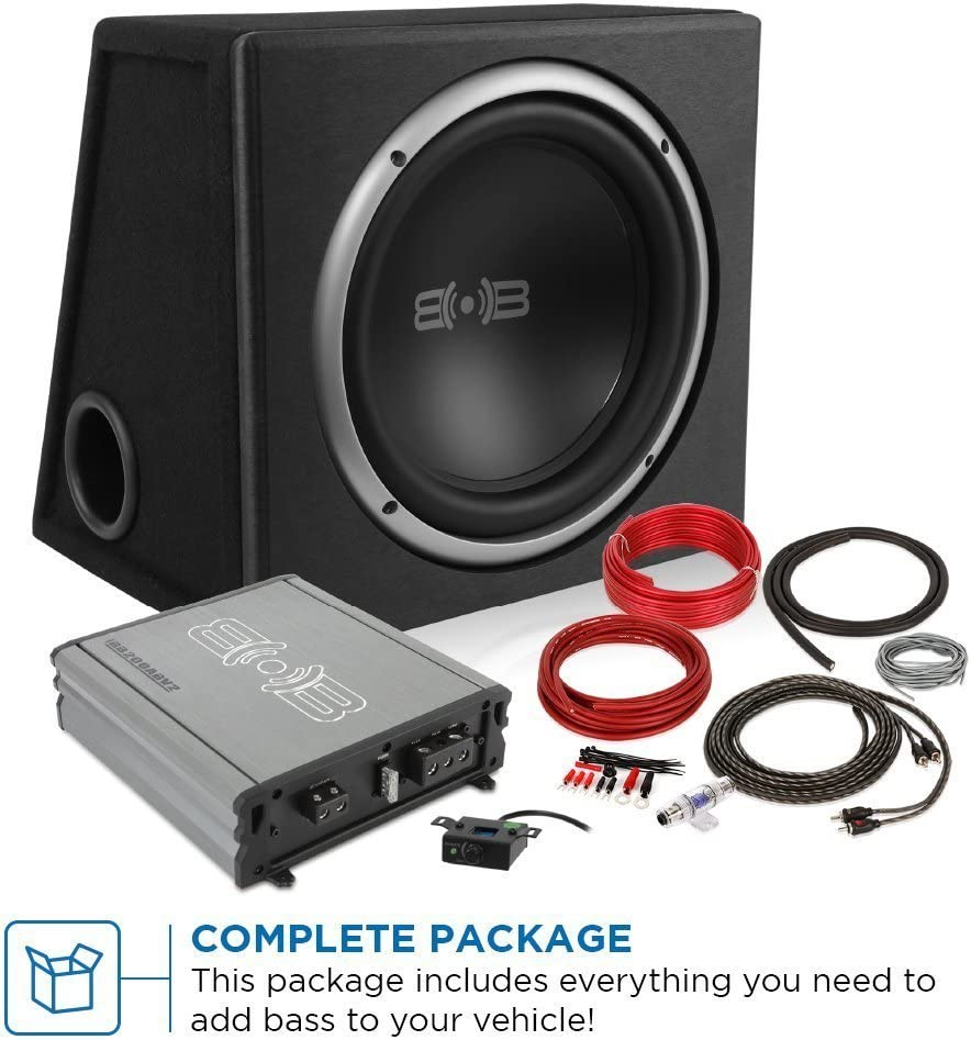 and Amp Wire Kit Belva 500 watt Complete Car Subwoofer Package includes 10-inch Subwoofer in Ported Box BPKG110v2 Monoblock Amplifier
