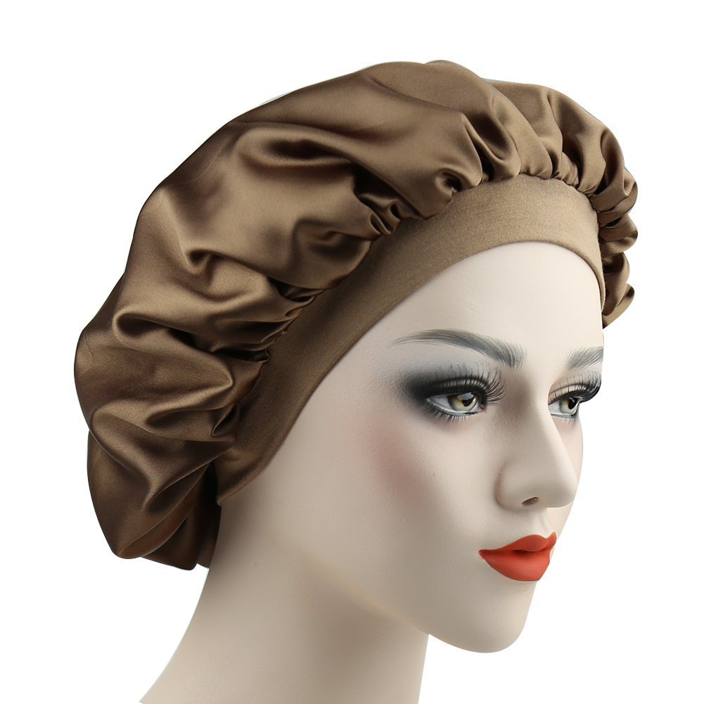 Women Silky Double-layered Satin Sleep Cap with Premium Elastic Band Alnorm