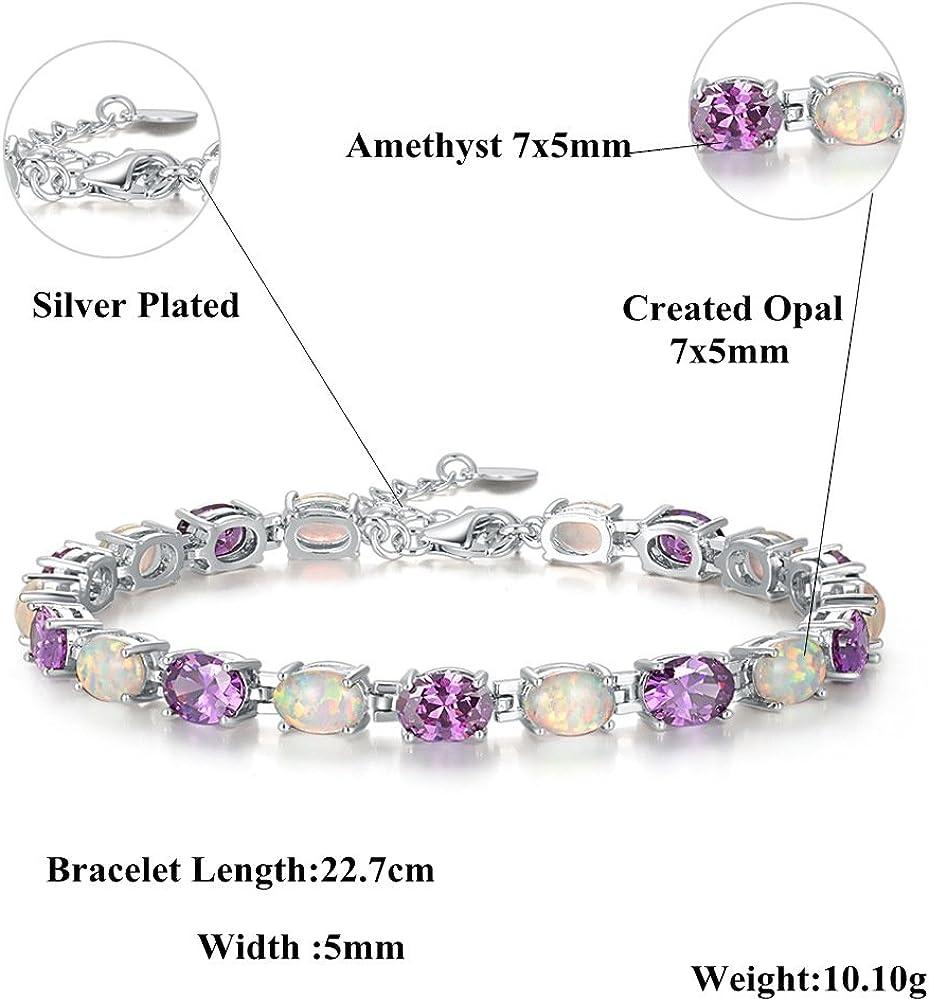 CiNily Adjustable Tennis Bracelet-Oval or Flower Shape White Gold//Sterling Silver Plated Opal Bracelet for Women Girls Gemstone Bracelets