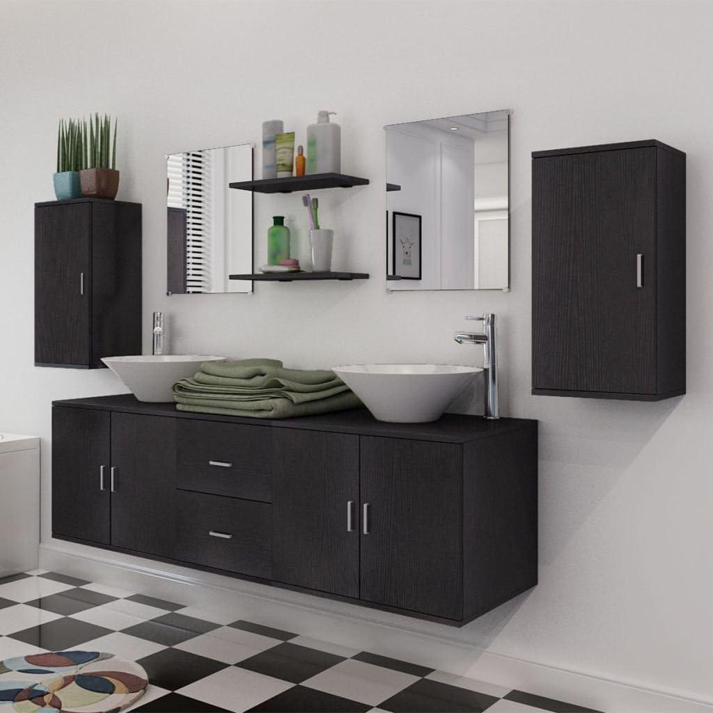 vidaXL Set 11 pz Mobili per bagno armadietti lavandino specchi rubinetto beige