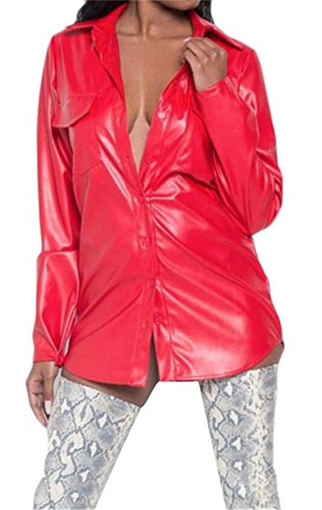 Speedle Faux Leather Long Sleeve Button Down Shirt For Women Party Clubwear Red XL