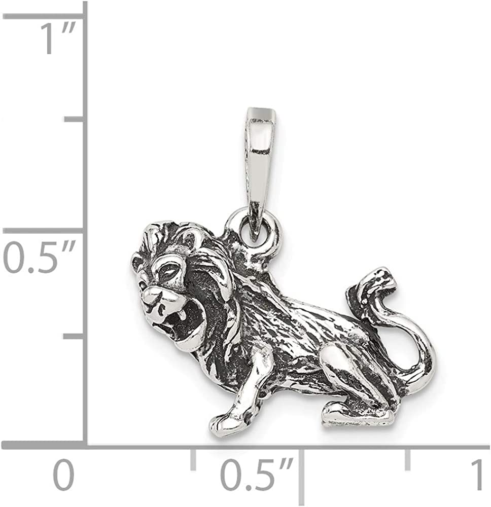 FB Jewels Solid 925 Sterling Silver Antiqued Leo Pendant