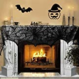Digital art Cobweb Fireplace Mantle Scarf 18 x 96 inch Mysterious Halloween Party Door Window Decoration Lace Black SpiderWeb Mantle Lace Runner Fireplace Scarf Festive Supplies (Black)