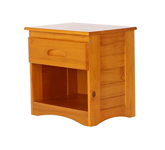 Amazon.com: Mesita de noche de madera y estilo, color miel ...