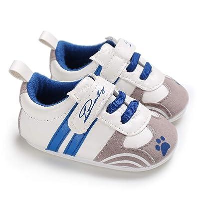 759923dca98f6 TMEOG Chaussures BéBé GarçOn Filles PU Artificiel Semelle Souple  AntidéRapant Empreinte De Rayure Baskets Nouveau NéE