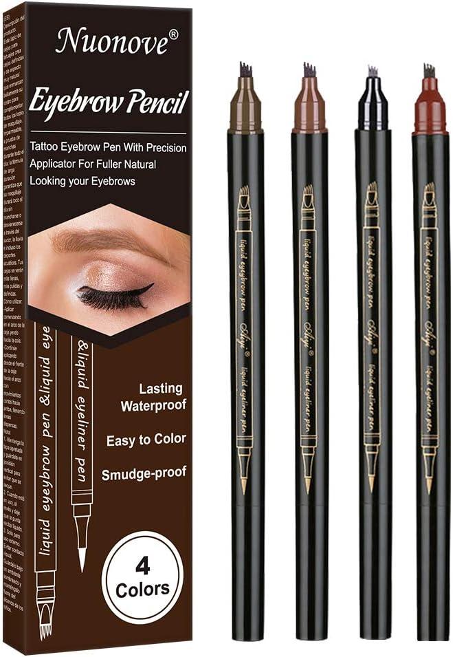 Lápiz de Cejas, Eyebrow Pencil, Eyebrow Tattoo Pen, Lápiz de Cejas Líquido 3D, con cuatro puntas duraderas, larga duración, impermeable, aspecto ...