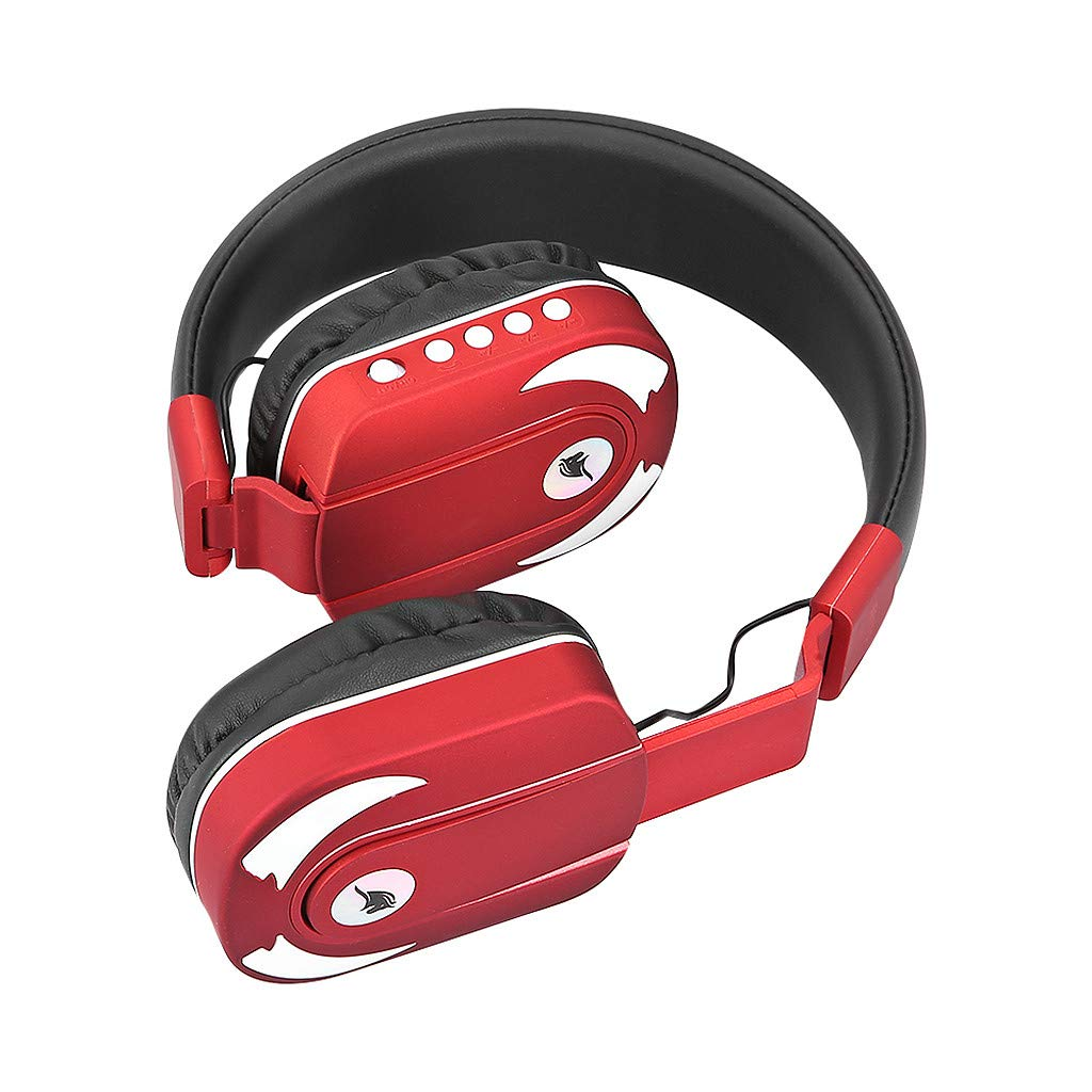 One76 Bluetooth Headphones, Colorful LED Light Up Wireless Headphones Over Ear Hi-Fi Stereo Foldable Wireless/Wired Headsets with Mic and TF-Card Slot Compatible for iPhone ipad Kindle Laptop TV