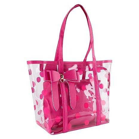 3549ed8ab507 xhorizon FL1 Women Clear Tote Bag Purse Work Bag Waterproof Travel Bag  Beach Handbag Gym Sports Bag