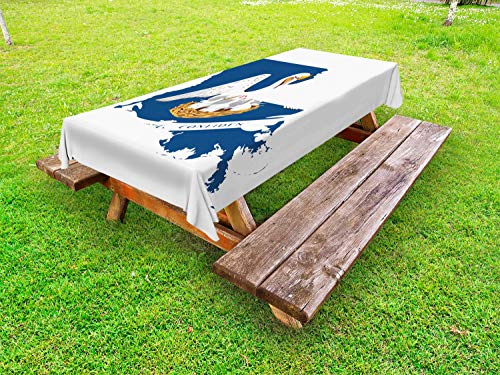 Lunarable Louisiana Outdoor Tablecloth, Pelican State Flag Map Union Justice Confidence, Decorative Washable Picnic Table Cloth, 58 X 120 Inches, Cobalt Blue White Pale Coffee Earth Yellow