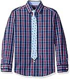 Tommy Hilfiger Big Boys' Stretch Plaid Shirt with Straight Tie, Red, 12