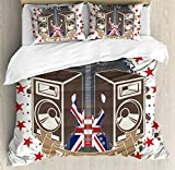 Popstar Party Queen Size Duvet Cover Set by Ambesonne, King Rock Label with Speakers Stars and Electric Guitar with British Flag, Decorative 3 Piece Bedding Set with 2 Pillow Shams, Multicolor