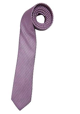 Olymp Corbata fina de seda pura, rayas nano-efecto fresa: Amazon ...