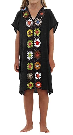 5c8ec904cea1 Amazon.com  AOVCLKID Kids Swimwear Girls Beach Coverup Crochet V Neck Summer  Dress (Black