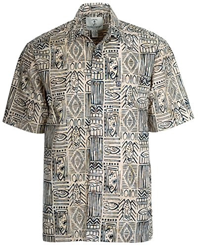 Artisan Outfitters Mens Surfboard Shortboard Batik Cotton Hawaiian Shirt (XL, Viridian Ecru) A0214-56-XL