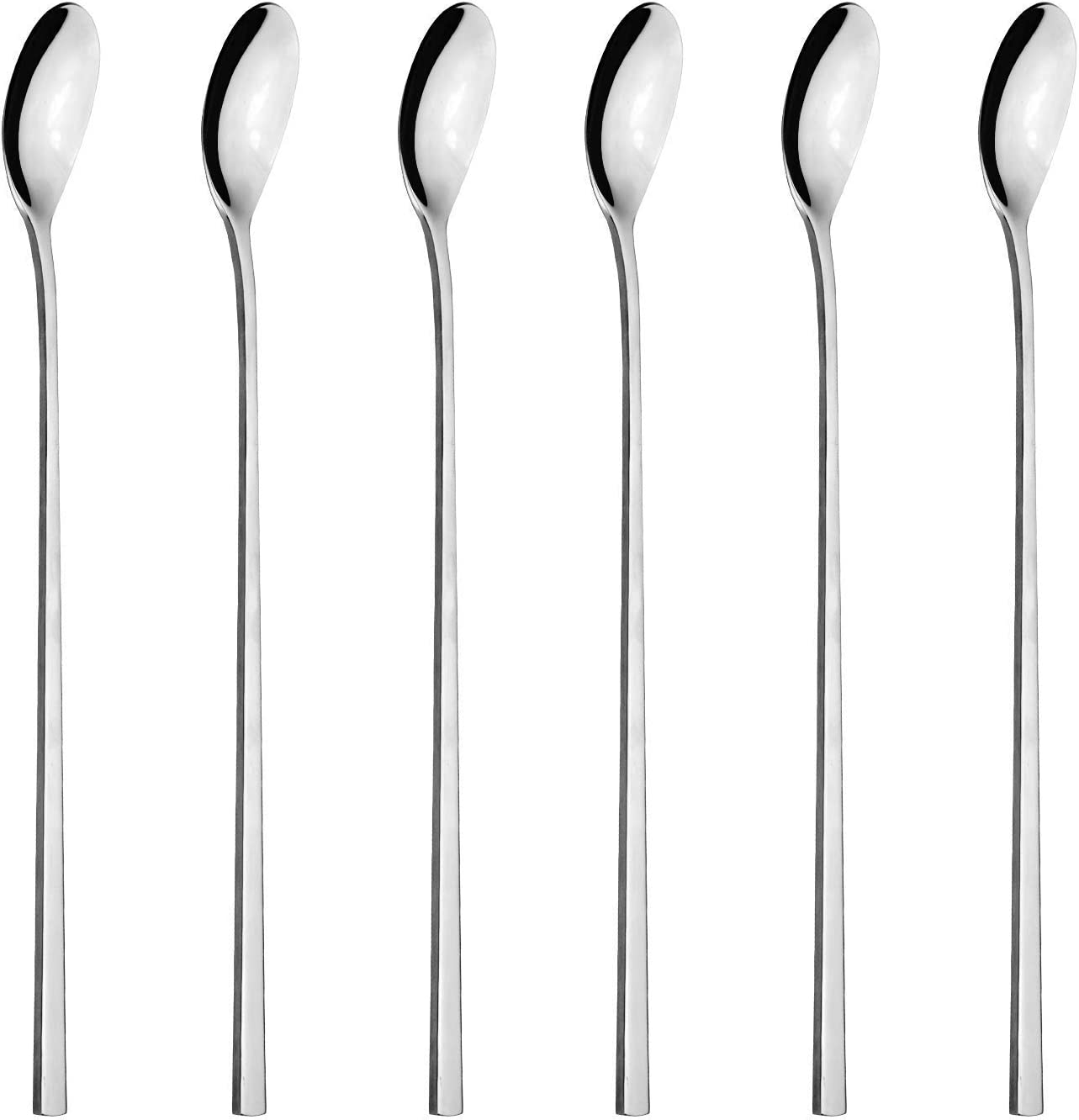 Espresso Ideal for Coffee Cafe Latte Hot Chocolate,Hot Drinks Dessert Long Handle Stainless Steel Spoon Pack of 6 Latte Spoons