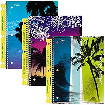 Mead Trapper Keeper Notebooks with Snapper Trapper, Fun in the Sun, 1 Subject, Wide Ruled, 3 Pack (73090)