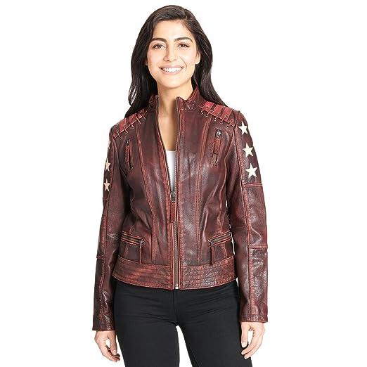 Black Rivet Womens Distressed Stars And Stripes Leather Jacket W