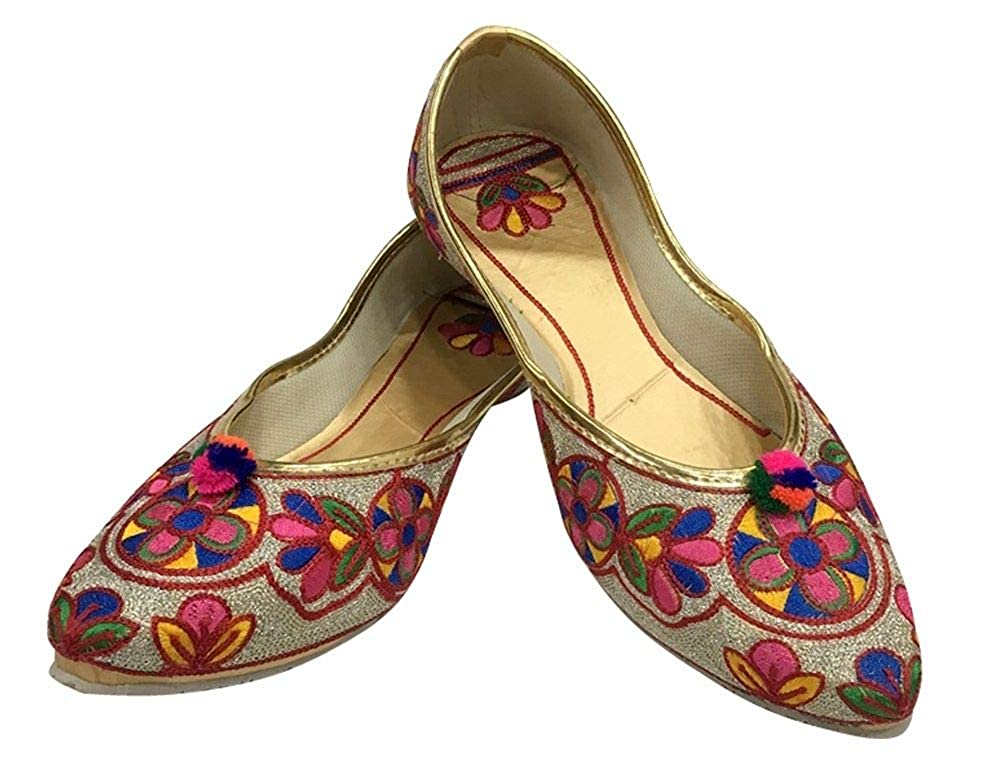 Step n Style Ballerines Plates pour Femme Punjabi Jutti Khussa Ethnique Phulkari Chaussures /à Perles