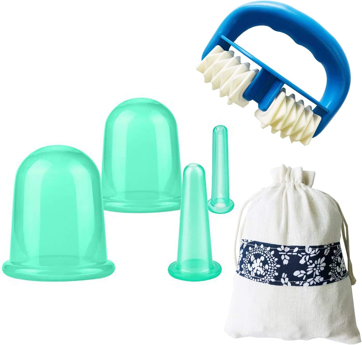 4 Cups Facial Cupping Set with Massage Roller SENREAL Silicone Cupping Therapy Kit Vacuum for Face Cupping Cups Facial Vacuum Massage Cup Kit for Muscle, Nerve, Joint Pain Relief (Green)